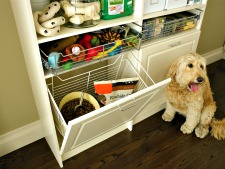 Custom pantry with hamper for pet foods and treats