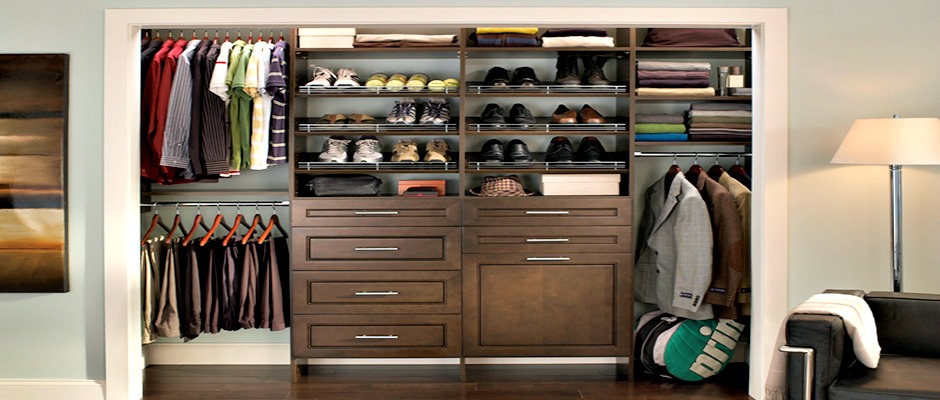 Walk-in closet in chocolate pear