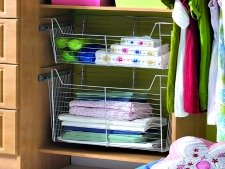 Chrome basket slider for closet or pantry