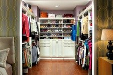 antique white walk-in closet with shoe rack